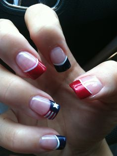 4th Of July nails French Mainicure red, white , blue.