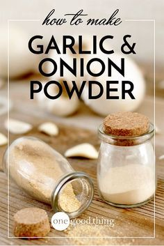 How To Make Your Own Onion & Garlic Powder · Jillee Making your own garlic and onion powder is really easy, and tastes so much better than the commercial version. Not to mention.no artificial ingredients! Homemade Dry Mixes, Homemade Spices, Homemade Seasonings, Homemade Paint, Spice Blends, Spice Mixes, Dehydrated Food, Dehydrator Recipes, Chutneys