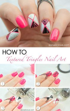Textured Triangles Nail Art - #texturedtriangles #nailart #nails #nailpolish #nailtutorial #nailstripes