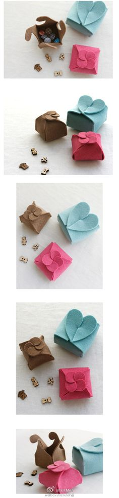 DIY :: Felt boxes with cute fasteners on top Felt Diy, Felt Crafts, Diy And Crafts, Arts And Crafts, Paper Crafts, Craft Gifts, Diy Gifts, Diy Projects To Try, Craft Projects