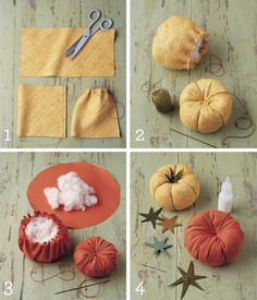 Diy and crafts Fabric Crafts - Martha Stewart - Heirloom-Tomato Pincushions use as furniture LS Autumn Crafts, Thanksgiving Crafts, Holiday Crafts, Fall Felt Crafts, Diy And Crafts, Crafts For Kids, Kids Diy, Velvet Pumpkins, Pumpkin Crafts