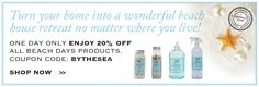 Today only 20% OFF Beach Days products* with coupon code BYTHESEA (*excludes candles). Environmentally Friendly Cleaning Products, Room Fragrance   The Good Home Store