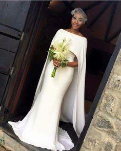Wonderful Perfect Wedding Dress For The Bride Ideas. Ineffable Perfect Wedding Dress For The Bride Ideas. African Wedding Dress, Black Wedding Dresses, Bridal Dresses, Wedding Gowns, 2017 Wedding, Prom Dresses, Wedding Dress Cape, Plain Wedding Dress, Cape Dress