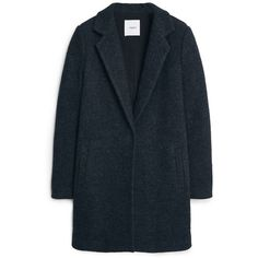 Bouclé Wool Coat (160 CAD) ❤ liked on Polyvore featuring outerwear, coats, jackets, blue wool coat, long sleeve coat, lapel coat, blue coat and woolen coat