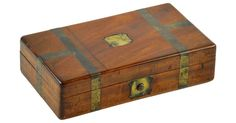 Antique mahogany and brass trimmed military campaign box.