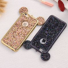 KISSCASS Bling Paillettes Coque For iPhone 6 6s 7 Plus Case Glitter Sequin Mickey Ear Cover For iPhone 7 6 6s Plus Case Fundas