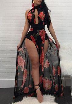 afb0b49be68 Black Floral Cut Out Side Slit Flowy Bohemian Beachwear Party Maxi Dress