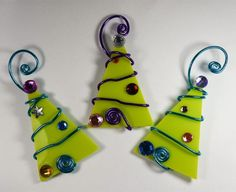 Lime Green Tree Trio Glass Ornaments Wire Wrapped. Perfect ornaments for those of you who love lime green like I do...
