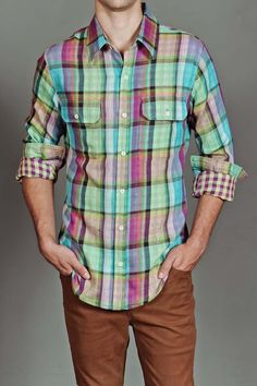 Plain Jane Keith Button Up Shirt Multicolor Plaid...can I find this in a women's shirt?! I love this color combo!