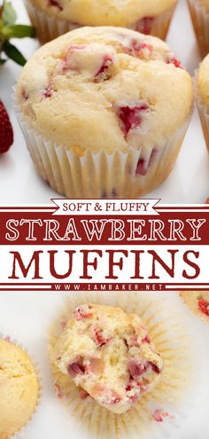 An easy breakfast idea, brunch recipe, snack, and even dessert! Strawberry Muffins are soft and fluffy muffins made with fresh strawberries for a perfectly sweet and refreshing treat. Save this pin!