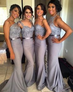 Wholesale Bridesmaid Dress - Buy 2014 Dark Gray Long Bridesmaid Dresses Halter Beaded Top Mermaid Sexy Cheap Prom Dress Backless Formal Evening Gowns cheap brdesmaid dresses, 2015 bridesmaid dresses