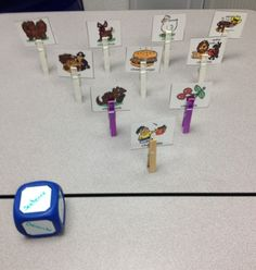 A Tip for Tuesday!! Clothespin Bowling is an interesting way to use different cards in speech therapy. The items you need to play this game are simple: 10 clothespins, therapy cards, and a small ba…