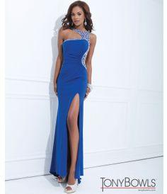 Tony Bowls 2014 Prom Dresses - Blue One Shoulder Cut Out Prom Dress - Unique Vintage - Prom dresses, retro dresses, retro swimsuits.