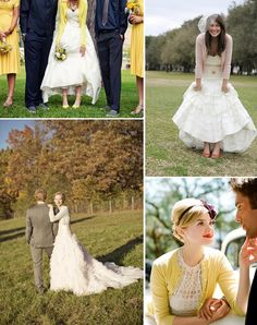 Brides in Cardigans...it appears to match the color of the bridesmaid's dresses in the one picture