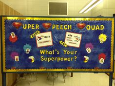 """To go along with the school wide theme of """"superheroes"""". This is our speech therapy bulletin board.  """"Super Speech Squad"""". Each little super hero has a different """"super power"""" listed (voice, fluency, speech, etc)."""
