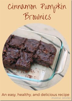 This cinnamon pumpkin brownie recipe is easy to make, healthy (for brownies), and absolutely delicious! A great recipe for kids to make - it's that simple!