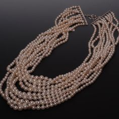 Statement necklace - Freshwater Cultured Pearls - 10-strands Graduated Necklace