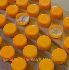 Memoryspel van flessendoppen, kan ook met letters of cijfers