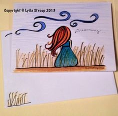 Dreaming girl- greeting card and envelope on Etsy, $5.00