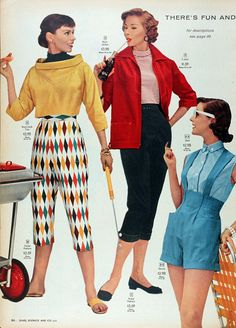 Early 1950's Sears ad. Harlequin print http://www.uksportsoutdoors.com/product/yx-women-sports-tights-spark-printing-graffiti-yoga-running-leggings-capri-pants-all-season/