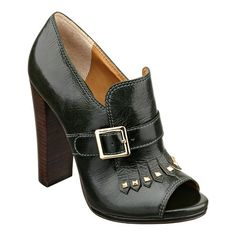 "Peep toe pump with wooden 4 1/2"" heel and buckle detail."