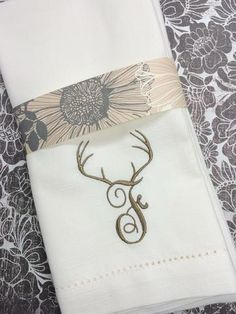 Deer Monogrammed Cloth Napkins, Hunting Napkins, Deer Cloth Napkins