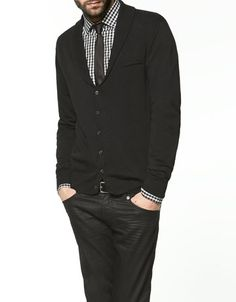 Sweater from Zara, with tuxedo collar. Nice look. This would look killer in Navy blue, with a blue/white check Gingham underneath, gray wool tie. #boom