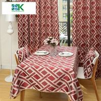 2016 Summer new Jacquard red table cloths for dining room cotton tea elegant tablecloth overlay factory large table fabrics wedd