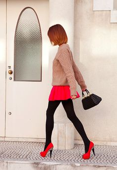 colorful heels outfit, sweater, hair colors, skirts, cloth, color combos, red shoes, black tights and skirt, style fashion