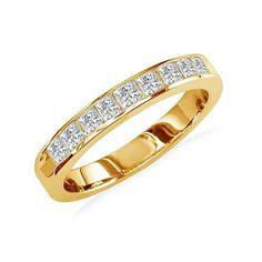 1/2ct Princess Diamond Anniversary Ring in 14K Yellow Gold