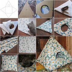 >Here is a nice DIY project to make an easy cat tent from cardboard. The cat tent comes with a matching cushion too. It is wonderful for the great little member in your household. Look at how comfortable and satisfied this cute little kitty
