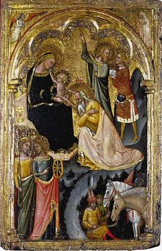 The Adoration of the Magi, c.1353-55, Vitale da Bologna; the Magi are shown representing the different ages of man; also present are Saint Catherine and Saint Ursula, with symbolic attributes, a wheel and an arrow. (National Galleries of Scotland)