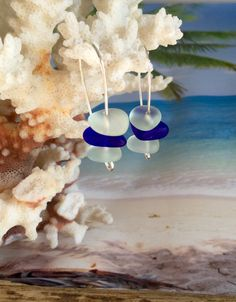Sea Glass Minimalist Earrings. Blue Seaglass by SeasideJewelry1