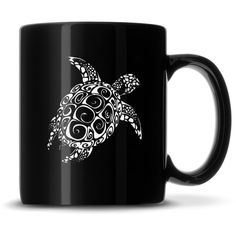Black Coffee Mug with Sea Turtle, Deep Etched. 12 ounces Dishwasher, Oven, and Microwave safe Sturdy DuraTux Design C-handle Collect the full set! Black Coffee Mug, Coffee Mugs, Premium Coffee, New Product, Turtle, Sea, Tableware, Hammerhead Shark, Full Set