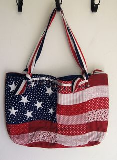 Sonoma American Flag Purse Handbag Tote Quilted Usa Patriotic 4th July Holiday Shoulderbag
