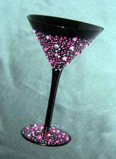 "Hand Painted Margarita Glass ""Confetti"", Hand painted with a blend of non toxic paints. Sooo much fun for ""Happy Hour!""  Thank you so much in advance to all of you that look and comment. I am enjoying viewing everyone elses talents! - Joyce, Home Decor Project"