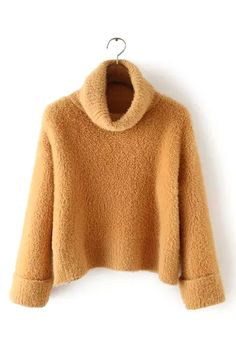 Turtle Neck Sweater in Tan / $33.95 at Yoins / Red, tan, white / Get down with this pure sweater. This sweater is made in a fluffy knit and features turtle neck and long sleeves with turn-ups. This beauty is so soft you're never gonna want to take it off--so pair it with anything from leather pants to a little denim skirt!