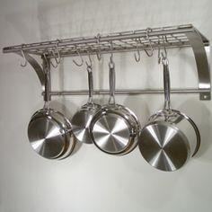 Wall Hanging Pot Rack wall mounted pot rack (minus shelf) two layers tall | kitchen
