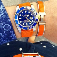 Colour match Wednesday with @daily.st Rolex Submariner on perlon strap with Hermes bracelet & belt.  by wristgamers