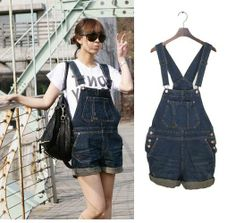 c232af8312 Denim suspenders shorts plus size one piece shorts denim bib pants overalls female  Free shipping on