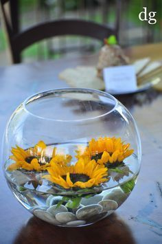 easy inexpensive centerpiece; floating sunflowers $12.50 (sunflowers can be green as well)