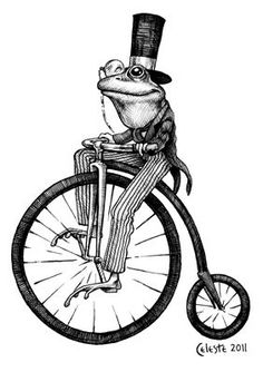 Bicycle Frog print with Mat. $18.00, via Etsy.