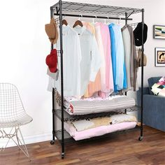 Introductions: The Garment Rack features black epoxy coated steel wire shelves on both top and bottom. With two hanging bars and adjustable hanger hooks, the rack makes it easy to organize all your clothing. This rack is adjustable and features 4 built-in wheels for easy maneuvering. With easy, no tool assembly.Transform your bedroom, closet into the organized space you have always dreamed of. Sometimes it takes an industrial-style design to get the storage results you're looking for in the…