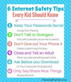 Kids Safety 6 Internet Safety Tips for Kids - Tops Safety Tips that Every Kid Should Know! Body Safety Rules, Back to School Safety, and Internet Safety tips. Informed kids are safer kids! Internet Safety Rules, Safety Rules For Kids, Internet Safety For Kids, Child Safety, Cyber Safety For Kids, Baby Safety, Internet Day, Safe Internet, Computer Internet
