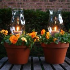 table centerpiece made with clay pots and hurricane globe | Orange Pansies & Greens, Candles Under Hurricane Glass In Terra Cotta .