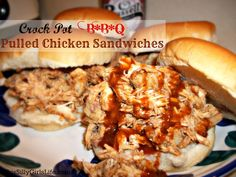 Crock Pot BBQ Pulled Chicken Sandwich recipe from ThisSillyGirlsLife.com