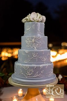 Four tier wedding cake, fondant with a brushed floral design