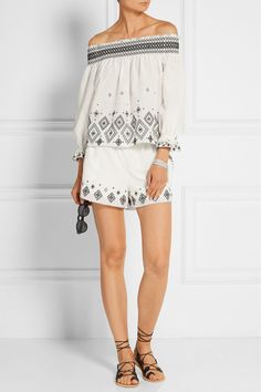Rachel Zoe | Off-the-shoulder embroidered silk and cotton-blend top | NET-A-PORTER.COM