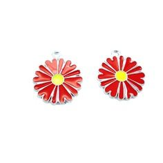 2 breloques fleurs argentées émaillées rouge et jaune,breloque fleur,breloque émaillée