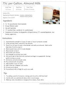 75¢ per Gallon Almond Milk Recipe
